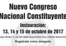 Invitación a la instauración del  Nuevo Congreso Nacional Constituyente