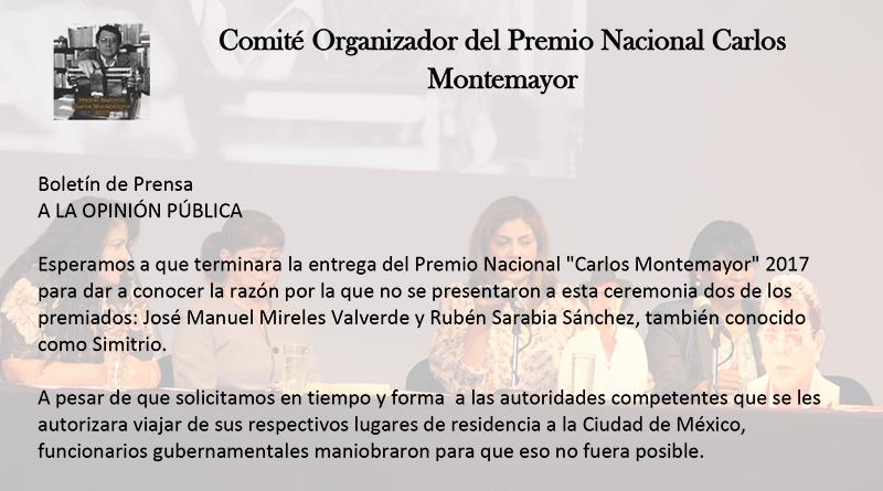 Posicionamiento del Comité Organizador Premio Nacional Carlos Montemayor