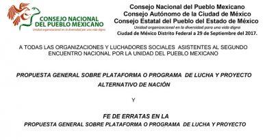 """Propuesta  de programa y proyecto alternativo de nación ante el """"II Encuentro Nacional por la Unidad del Pueblo Mexicano"""""""