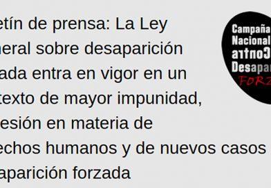 Boletín de prensa de Campaña Nacional contra la Desaparición Forzada en México