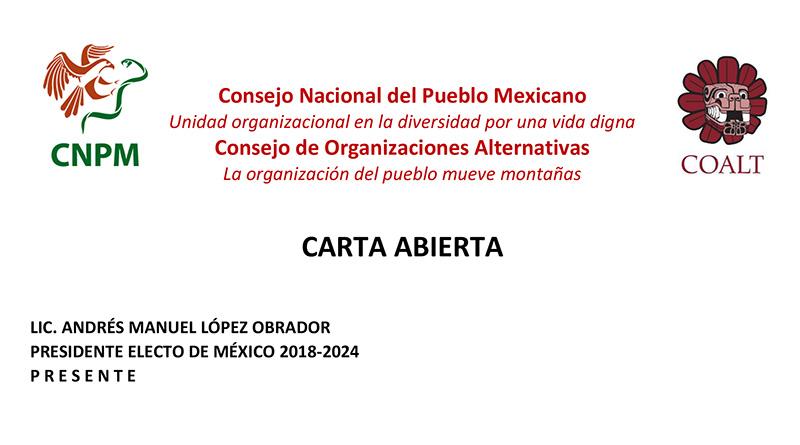 Carta abierta al Lic. Andrés Manuel López Obrador