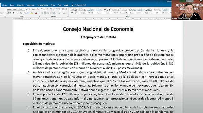 Proyecto de Consejo Nacional de Economía (Video)