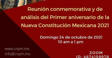 Reunión conmemorativa y de análisis del primer aniversario de la Nueva Constitución Mexicana 2021